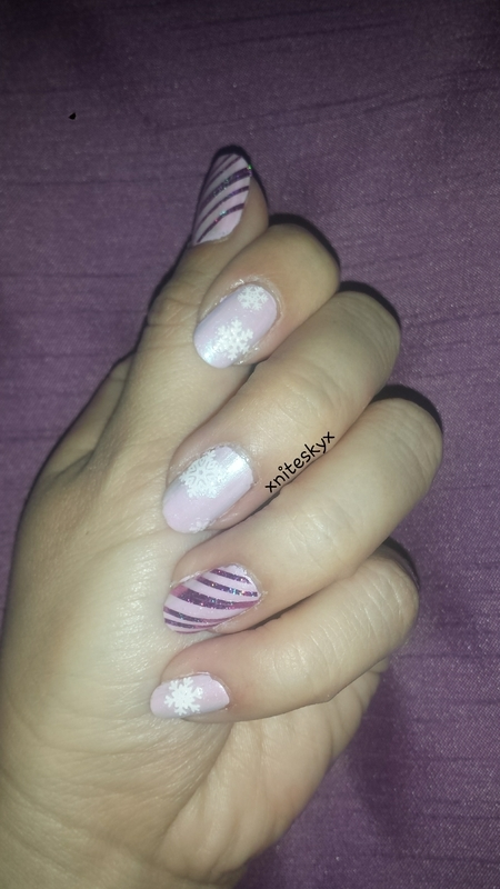 Pink Winter nail art by xniteskyx