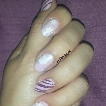 Pink Winter nail art by xniteskyx