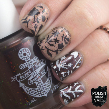 Neutral glitter fall floral pattern nail art 4 thumb370f
