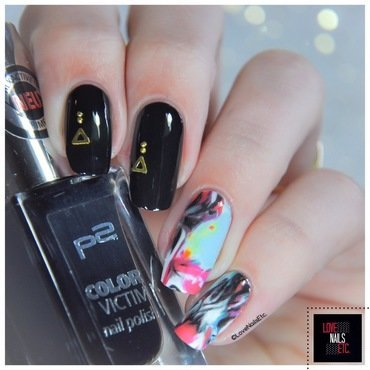 Abstract & Black  nail art by Love Nails Etc