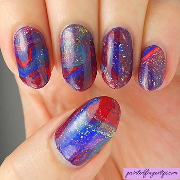 Drip marble nail art by Kerry_Fingertips