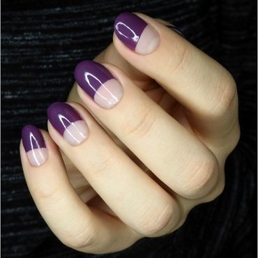 Half moon with negative space nail art by barbrafeszyn