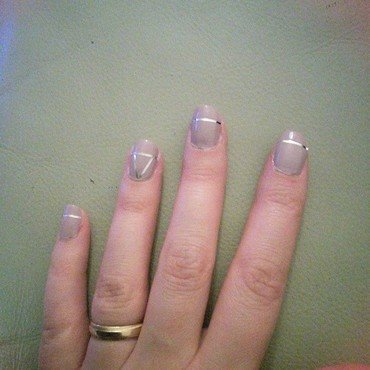 Silver Strips nail art by PortoLover
