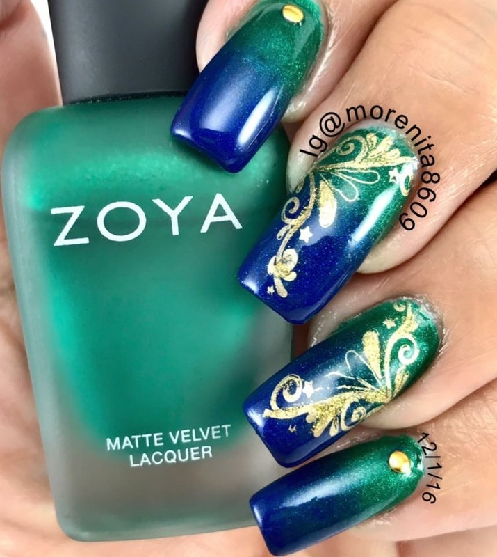 Blue & Green  nail art by Morenita  Morena