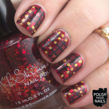 Red glitter gridded gold polka dot pattern nail art 4 thumb370f