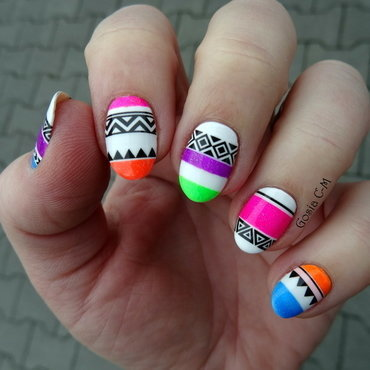 Neon tribal nail art by Nail Crazinesss
