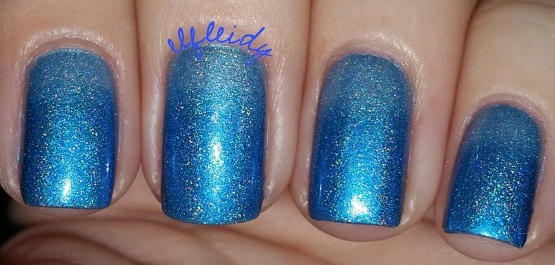 Blue holo gradient nail art by Jenette Maitland-Tomblin