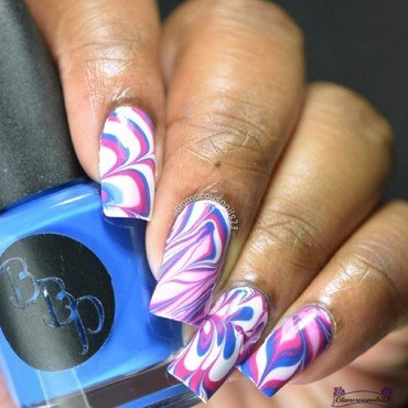 Watermarble Wednesdays: White, Blue & Pink nail art by glamorousnails23