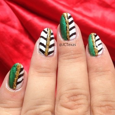 Sea Green & Half Stripes nailart nail art by Juliana  Bräsil