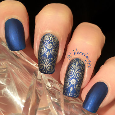 Detailed Damask nail art by Vernimage