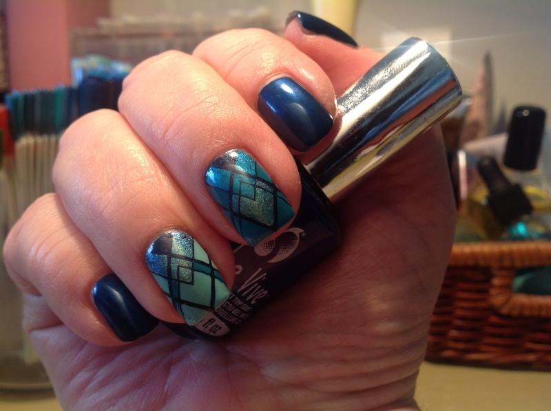 Blue Lines nail art by Ronit