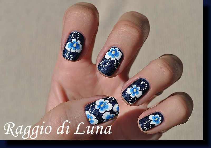 Pansies on dark blue nail art by Tanja