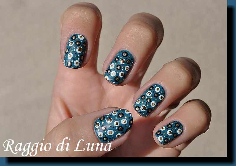 Dotticure on velvet satin blue nail art by Tanja
