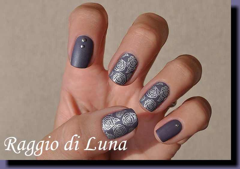 Stamping: Silver roses on titanium lilac nail art by Tanja