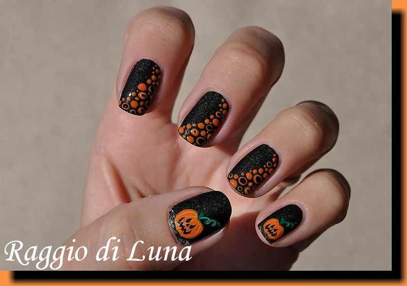 Halloween dotticure with pumpkins nail art by Tanja