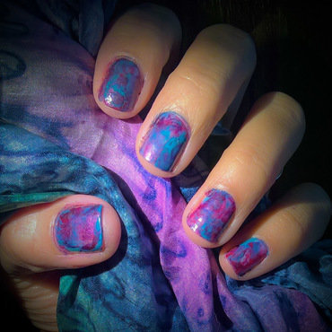 Red, Teal and Metallic Purple #smooshysunday  nail art by Avesur Europa