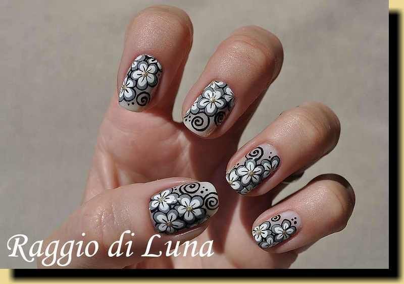 Black & grey & white flowers on nude nail art by Tanja