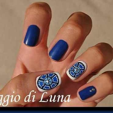 Tribal blue circle nail art by Tanja