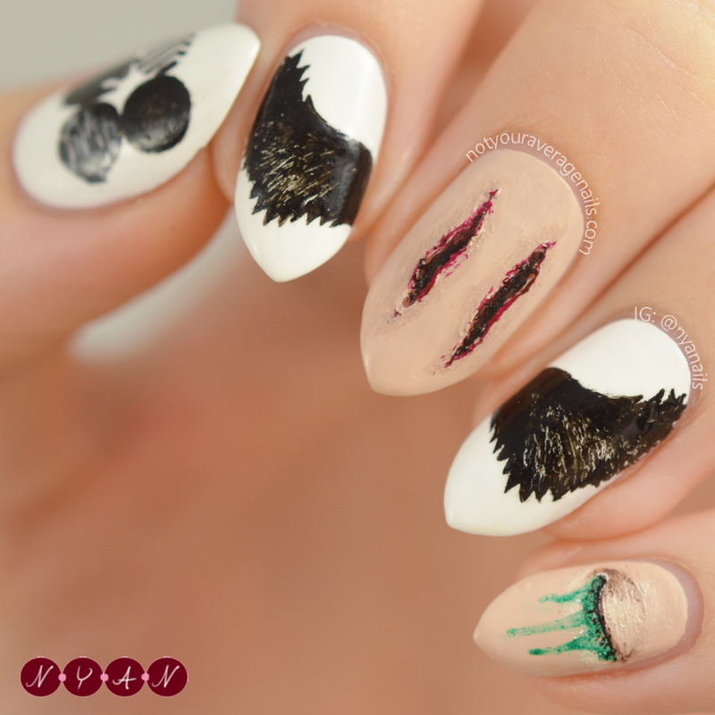 Blood, Sweat & Tears nail art by Becca (nyanails)