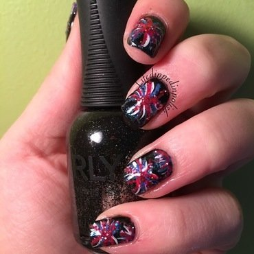 Fourth of July Fireworks nail art by lifedippedinpolish