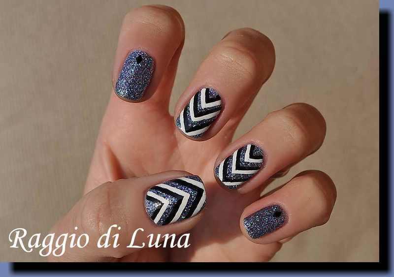 Blue glitter & black & white chevron nail art by Tanja