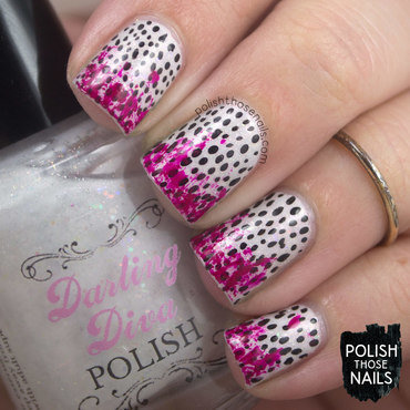 White sparkle black polka dot neon purple distressed nail art 4 thumb370f