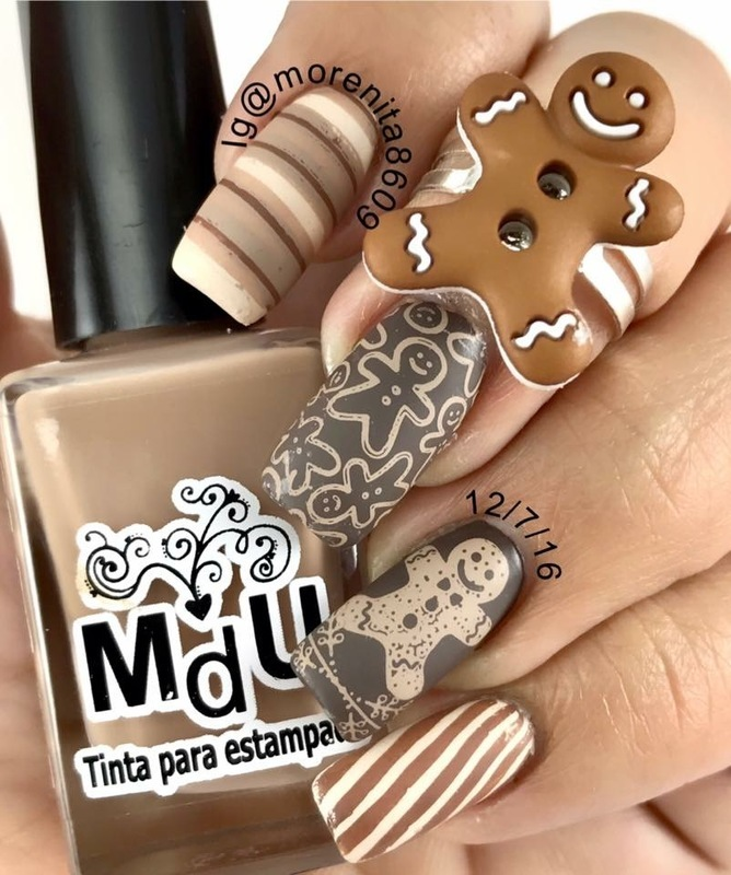Gingerbread Man Nails nail art by Morenita  Morena