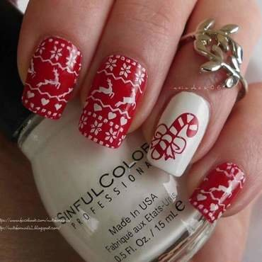 Christmas Sweater nail art by Angelique Adams