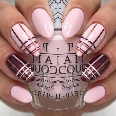 Pinky Plaid nail art by JMura_Designs