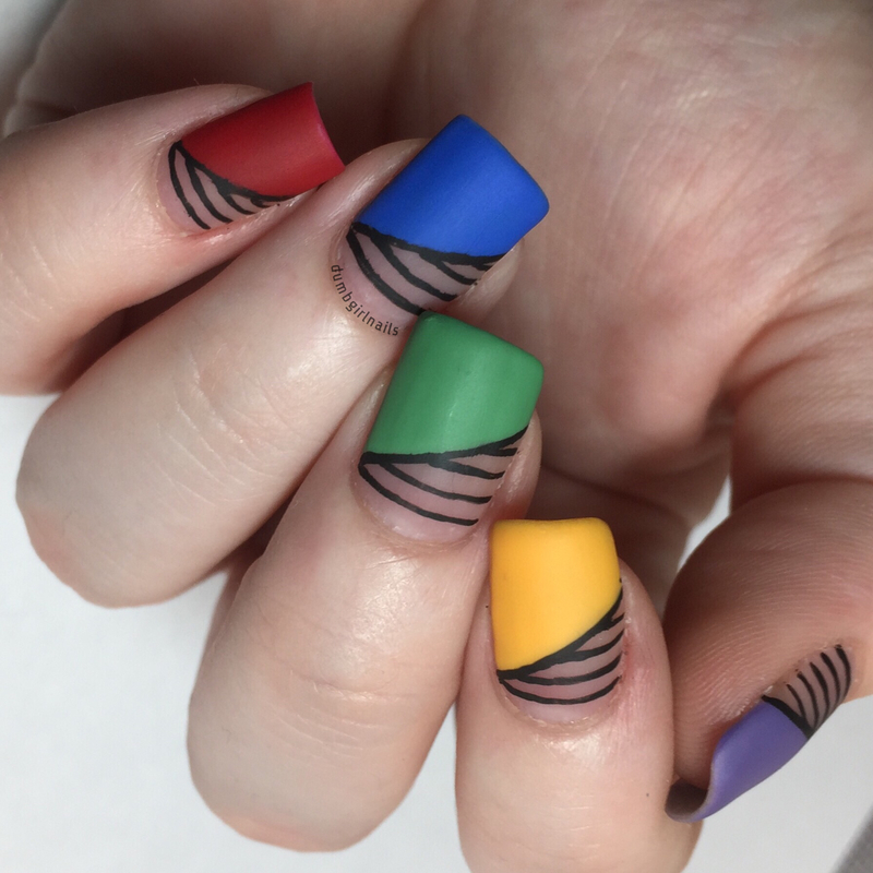 Half and Half nail art by Michelle