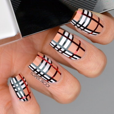 Burberry Taping Manicure nail art by Jayne