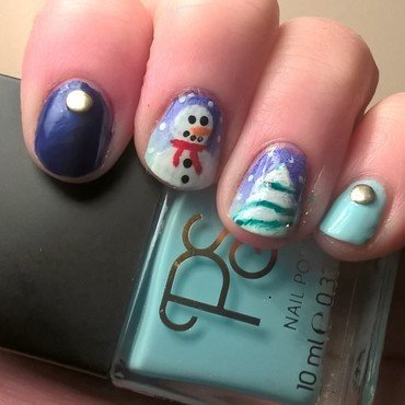Snowman and Xmas Tree Nails nail art by Sazjay