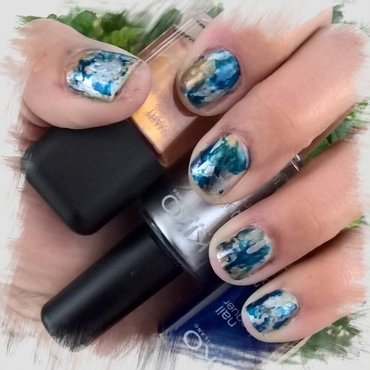 Blue, Silver and Bronze #smooshynailsunday  nail art by Avesur Europa