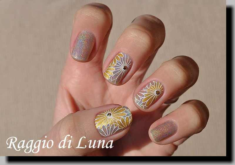Stamping: Golden flowers on silver holo nail art by Tanja
