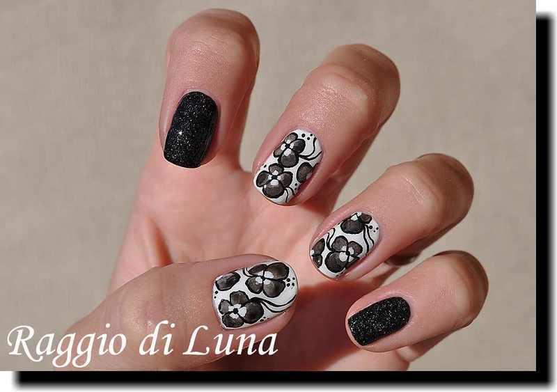 Grey flowers nail art by Tanja
