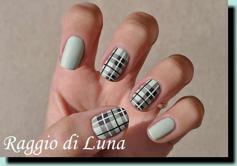 Light green plaid manicure nail art by Tanja
