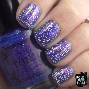 Purple flakie gold wind pattern nail art 4 thumb370f