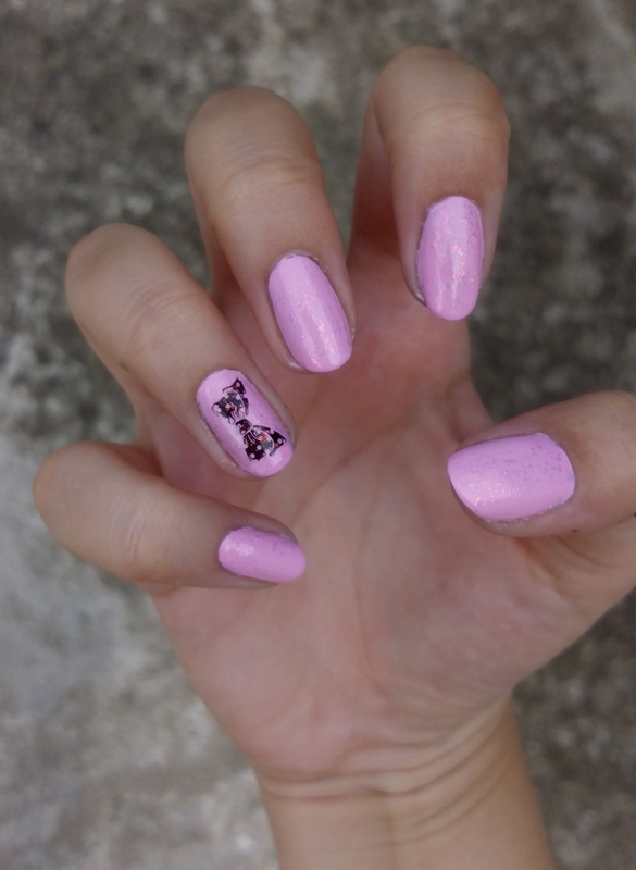 Pink bow nail art by Lucy