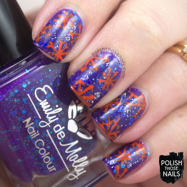 Purple blue glitter orange snowflake pattern nail art 4 thumb370f