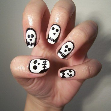 Skulls nail art by Lucy