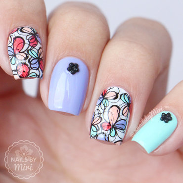 Colorful Floral Stamping nail art by xNailsByMiri