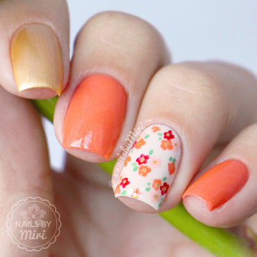 Floral Accent Nails nail art by xNailsByMiri