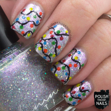 Sparkly shimmer christmas lights pattern nail art 4 thumb370f