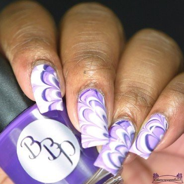 Watermarble Wednesdays: Dark Purple, Lilac & White nail art by glamorousnails23