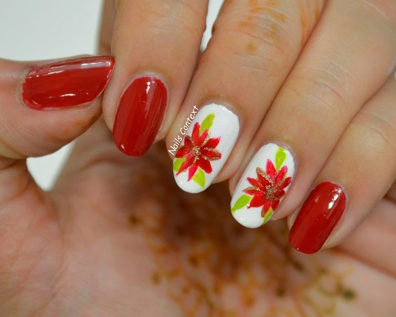 Poinsettia Nails  nail art by NailsContext
