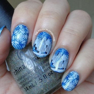 Winter Snowflakes and Trees Stamping nail art by Lisa N