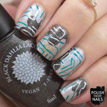Silver gold glitter black xray geometric pattern nail art 4 thumb370f