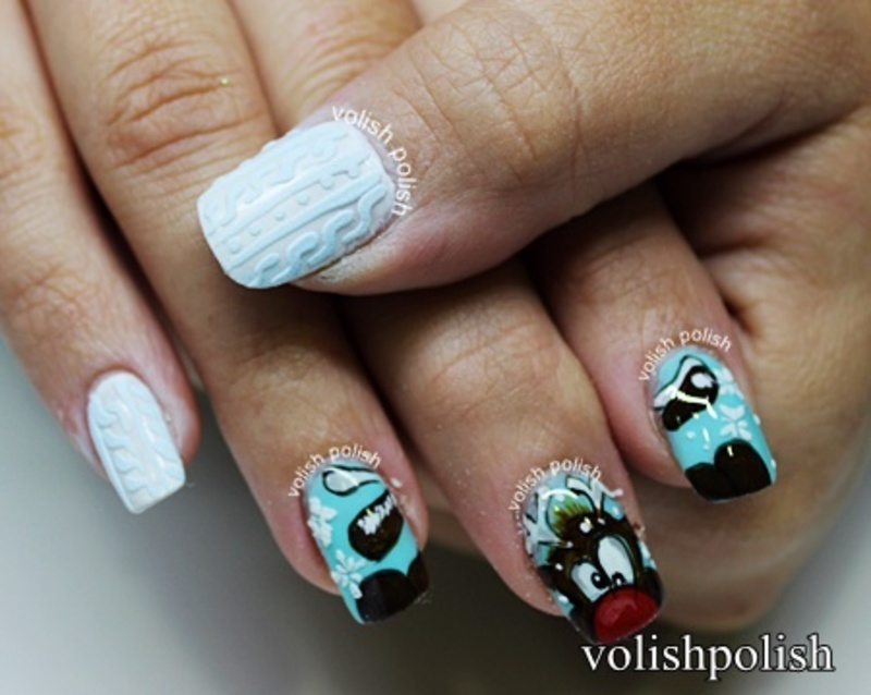 Rudolph The Red nosed Reindeer nail art by Volish Polish