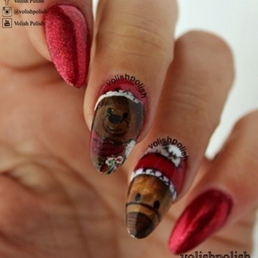 Christmas Teddy Bear nail art by Volish Polish