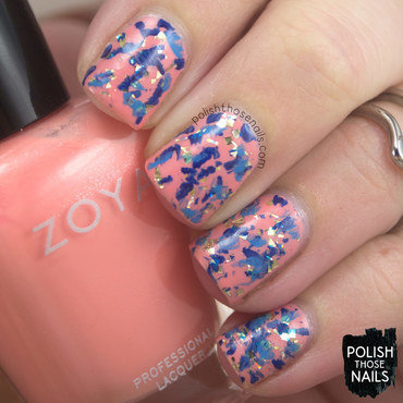 Coral gold flake blue random splotch nail art 4 thumb370f